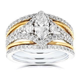 Annello By Kobelli 14k Two Tone Gold 1 2 5ct Tdw Marquise Diamond Rings 3