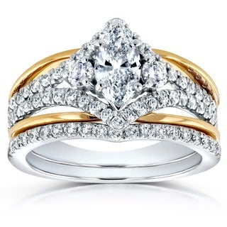 Annello 14k 2-tone Gold 1 1/5ct TDW Marquise Diamond Art Deco Bridal Ring Set