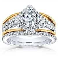 Annello by Kobelli 14k Two Tone Gold 1 1/5ct TDW Marquise Diamond Chevron Bridal Ring Set