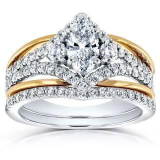 Annello by Kobelli 14k Two Tone Gold 1 1/5ct TDW Marquise Diamond Chevron Bridal Ring Set