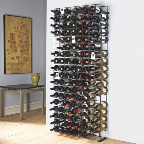 Wine Enthusiast 144-Bottle Black Stainless Steel Tie Grid