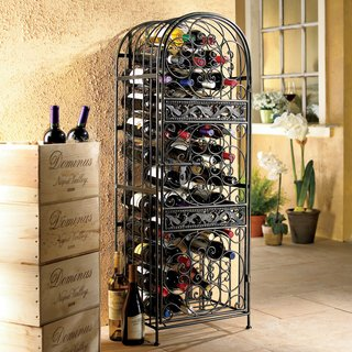 Wine Enthusiast Renaissance Antique Bronze Wrought Iron Wine Jail