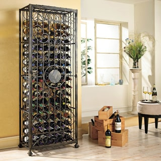 96-Bottle Antiqued Steel Wine Jail