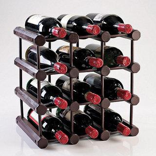 Modular 12-Bottle Mahogany Wine Rack
