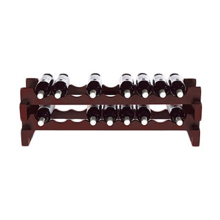 18-Bottle Stackable Mahogany Wine Rack Kit