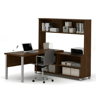 Bestar Pro-Linea L-Desk with hutch