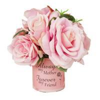 Pink Rose Silk Floral Arrangement with Vase