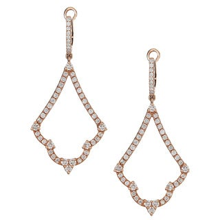 14k Rose Gold 1 1/4ct TDW Diamond Dangle Earrings (H-I, SI1-SI2)