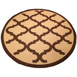 Woven Geometric Brown/ Beige Indoor/ Outdoor Rug (6'7 Round)