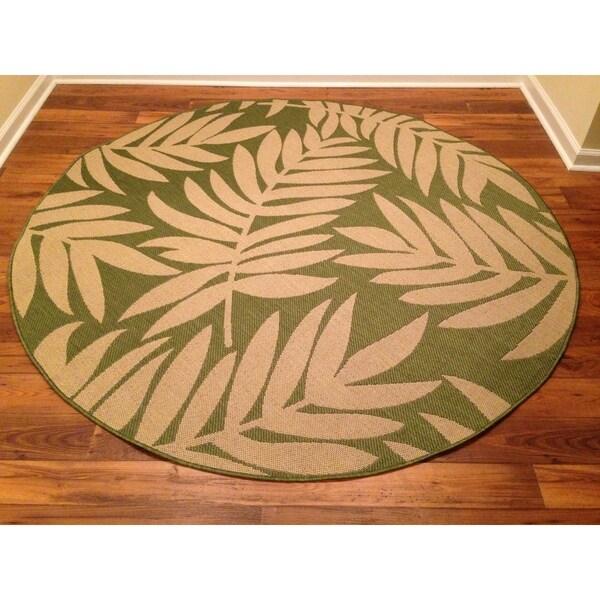Woven Floral Green Beige Indoor Outdoor Rug 6 7 Round
