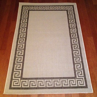 Geometric Brown/ Beige Indoor/ Outdoor Rug (3' x 5')