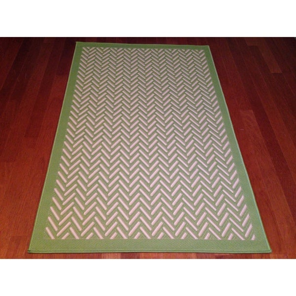 Woven Geometric Green Beige Indoor Outdoor Area Rug 3