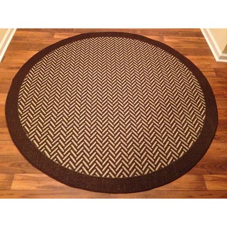 Woven Brown/ Beige Indoor/ Outdoor Rug (6'6 Round)