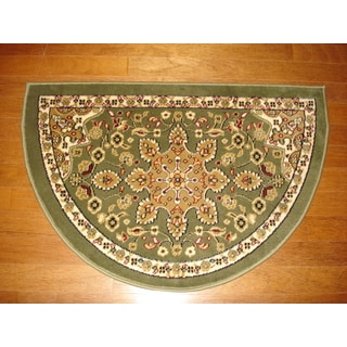 Fireplace Floral Green/ Beige Hearth Rug (2'2 x 3'2)