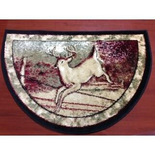 Deer Wildlife Animal Red/ Beige Hearth Rug (2'2 x 3'2)