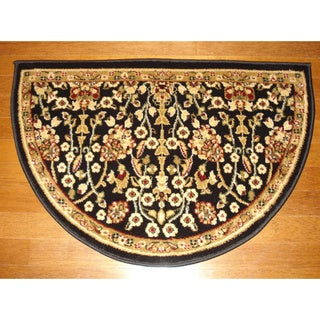 Fireplace Floral Black/ Beige Hearth Rug (2'2 x 3'3)