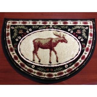 Moose Animal Red/ Beige Hearth Rug (2'2 x 3'2)