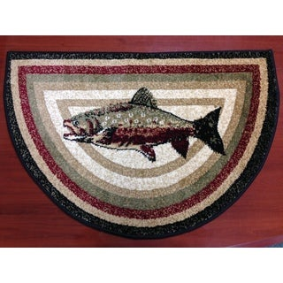 Bass Fish Animal Red/ Beige Hearth Rug (2'2 x 3'2)