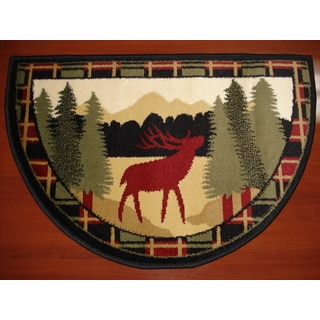"Hearth Rug Wildlife Fireplace Lodge Cabin Moose 26""x 38"" Fire Retardant"