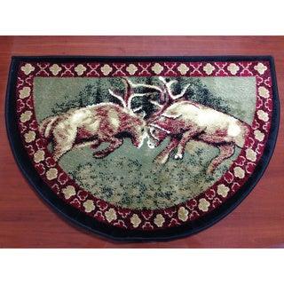 "Hearth Rug Lodge Cabin Fireplace Deer Wild Life 26""x 38"" Fire Retardant"