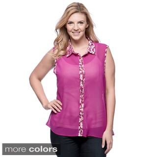 Plus Size Women's Cheetah Print Sleeveless Top