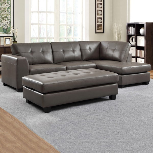 Carmine grey bonded leather sectional with chaise and for Bonded leather sectional sofa with chaise