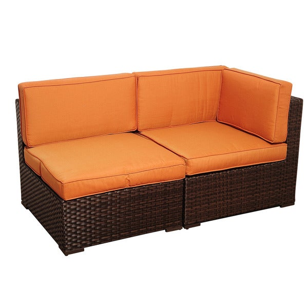 Shop Atlantic Modena 2-piece Brown Wicker Seating Set With Orange Cushions