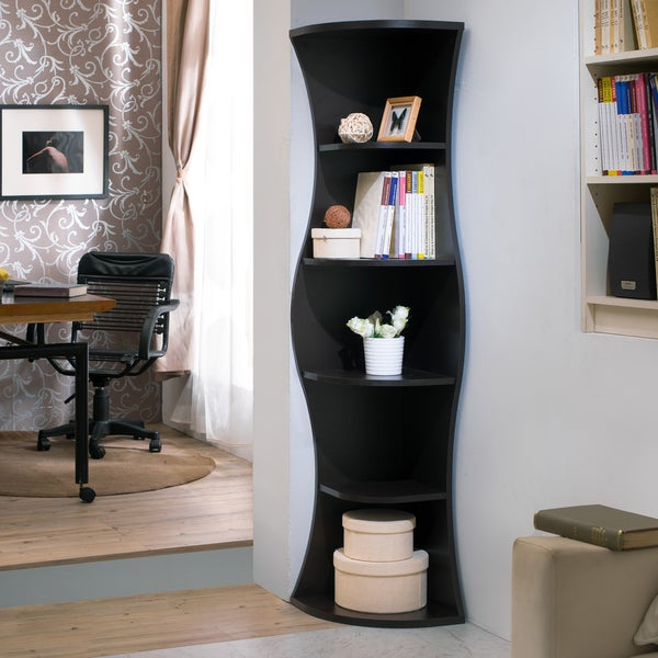 Furniture Of America Collins Contemporary Curvy Walnut Corner Bookcase    Free Shipping Today   Overstock.com   17213111
