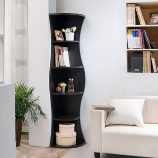 Clay Alder Home Sachs Contemporary Curvy Walnut Corner Bookcase