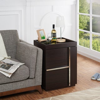 Furniture of America Marille Walnut Multi-Storage End Table
