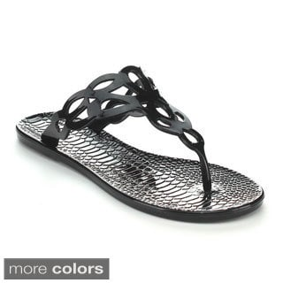 Qupid CELTIC-01 Women's Jelly Cut-out Thong Sandals