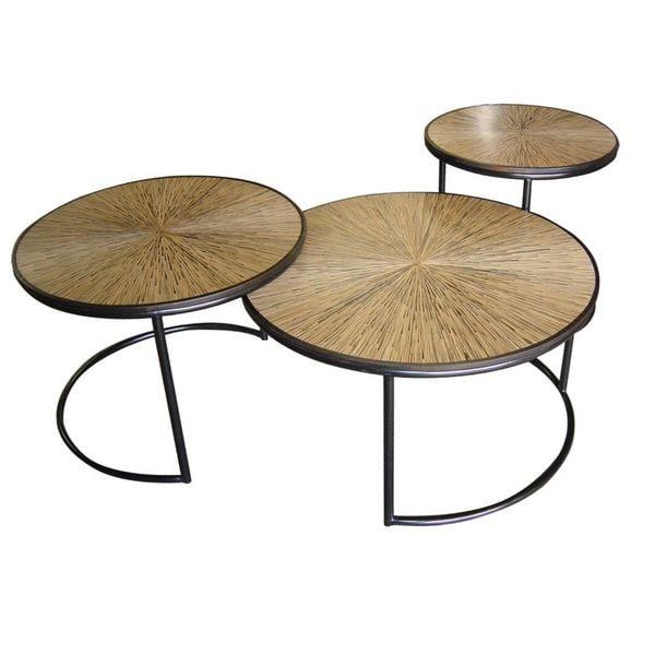 Nesting Cocktail Tables ~ Decorative granite modern brown round nesting cocktail