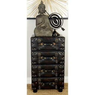 Wood Leather Side Chest with Dark Brown Tone