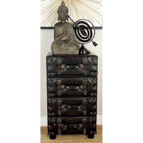 Traditional 28 Inch 4-Drawer Luggage Side Chest by Studio 350 - Black