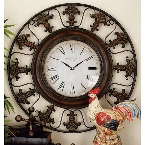 Rustic 38 Inch Round Brown Fleur-de-Lis Wall Clock by Studio 350