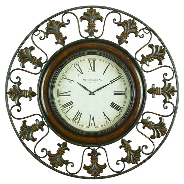 Shop Metal Wall Clock With Round Flower Themed Border
