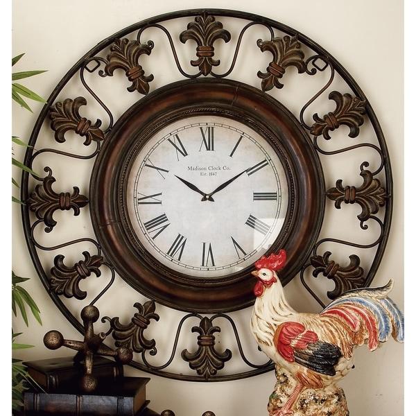 Rustic 38 Inch Round Brown Fleur-de-Lis Wall Clock by Studio 350