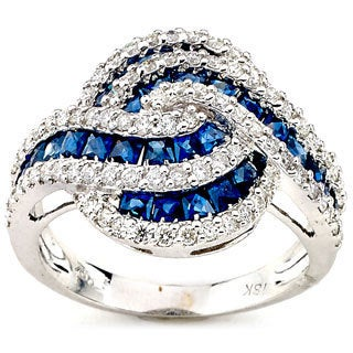 Neda Behnam Diamonds for a Cure 18K White Gold Interlocking Ring with Blue Sapphire and Diamond