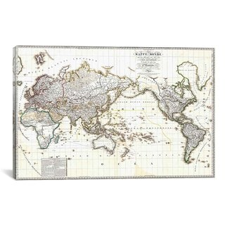iCanvas Antique French Map of the World) Canvas Print Wall Art