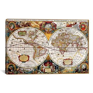 "iCanvas ""Antique Double Hemisphere Map of The World (Hondius Canvas Print Wall Art"