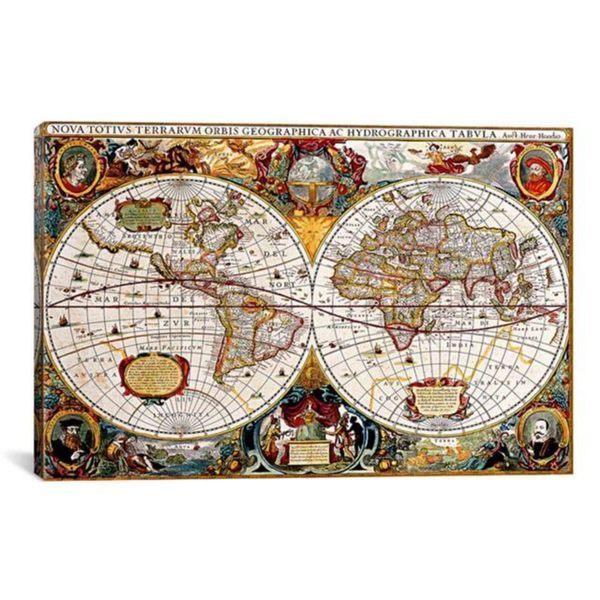 Icanvas antique double hemisphere map of the world hondius canvas icanvas antique double hemisphere map of the world hondius canvas print wall art gumiabroncs Gallery