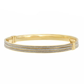 Sterling Essentials 14k Goldplated Silver Glitter Bangle Bracelet