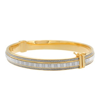14K Gold Plated Sterling Silver Glitter Bangle Bracelet