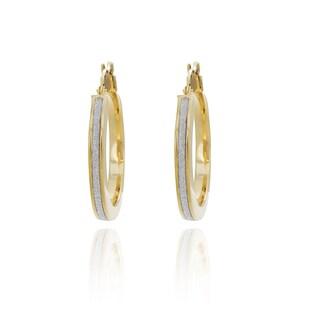 Sterling Essentials 14k Goldplated Silver Glitter Hoop Earrings