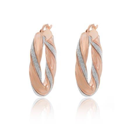 Sterling Essentials 14K Rose Gold Plated Silver Glitter Hoop Earrings