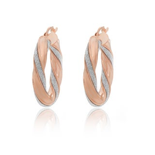 Sterling Essentials 14K Rose Gold Plated Silver Glitter Hoop Earrings