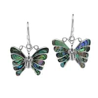 Handmade Stunning Butterfly Inlay Sterling Silver Dangle Earrings (Thailand)