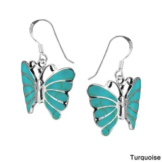 Stunning Butterfly Inlay Sterling Silver Dangle Earrings (Thailand)