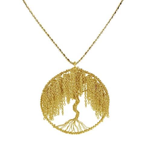 Handmade Modern Brass Chain Links Flourishing Tree of Life Necklace (Thailand)