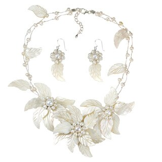 Statement Carved Mother of Pearl Floral Bouquet Jewelry Set (Thailand) - White
